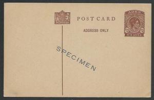 ADEN GVI 3/4a postcard overprinted SPECIMEN - very scarce..................56674