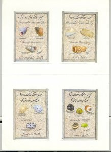 Grenada #2208-09 & Grenadines #1549-50 Shells Imperf Proofs of 4 S/S in Folder