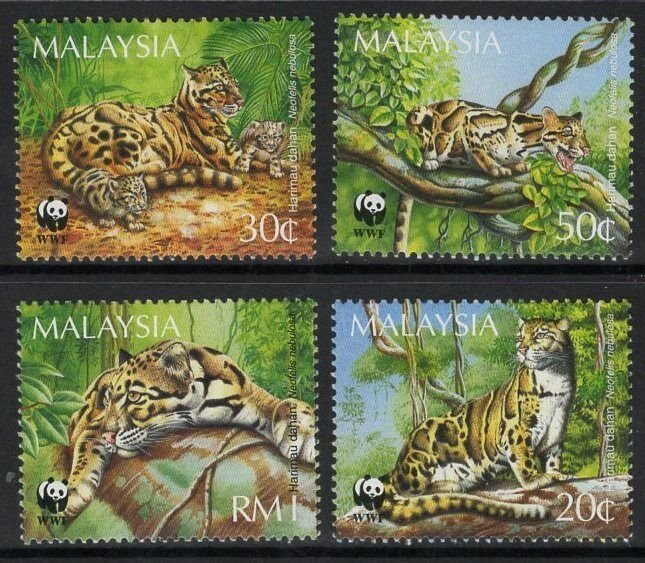 Malaysia MNH 538-41 Clouded Leopards WWF 1995