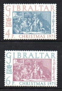 Gibraltar Sc  303-4 1973 Christmas stamp set mint NH