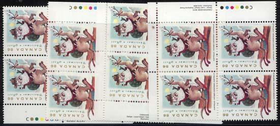 Canada USC #1501 Mint MS Imprint Blocks VF-NH Cat. $40. 1993 Kangaroo Christmas