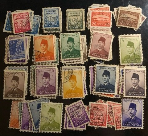 Indonesia Group of 165 Used stamps from 1951 to1953 issues  Cat. $33.00+