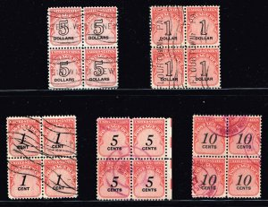 US STAMP BOB POSTAGE DUE BLK OF 4 USED STAMP COLLECTION LOT  #M1