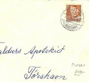 Denmark FAROE ISLANDS Cover 1956 *Götegjov* CDS Postmark Farös Local Mail CQ111