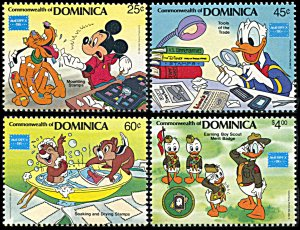Dominica 954-957, MNH, Disney and Ameripex '86 Stamp Exhibition