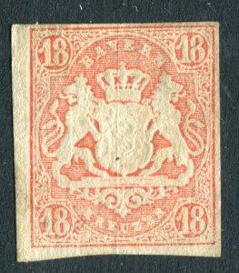 Bavaria, Bayern 1867. 18k stamp. Mint No Gum. Silk thread.