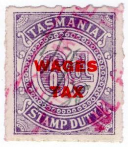 (I.B) Australia - Tasmania Revenue : Wages Tax 6d (1937)