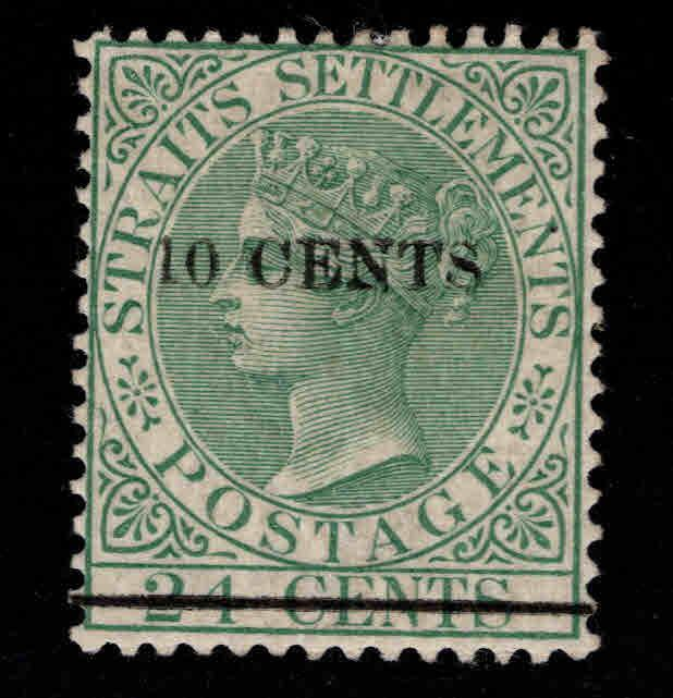 Straits Settlements Scott 75 MH* surcharged stamp
