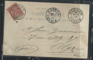 FRENCH INDOCHINA  (PP3008B) 1905    PPC FROM NACHAM TO ALGERIA