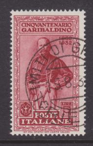 Italy Sc 289 used 1932 5l Garibaldi, Top Value to Set F-VF