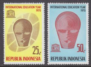 Indonesia Sc 795-796 MNH. 1970 UNESCO International Education Year cplt VF