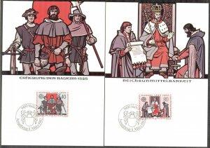 Liechtenstein 1982 Europa CEPT History Events 2 Maxi Cards FDC