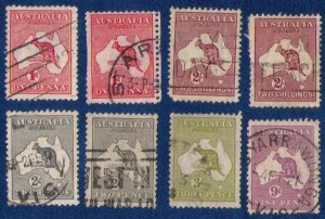 1913/1929 Australia Used Lot Sc2,3 & 5 Sc50,Sc99x2 Eight Total F-VF