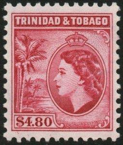 TRINIDAD & TOBAGO-1955 $4.80 Cerise Perf 11½ Sg 278a LIGHTLY MOUNTED MINT V48545
