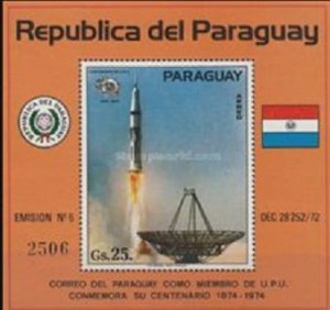 Paraguay space 1974 Mi Block 220 The 100th Anniversary of U.P.U.