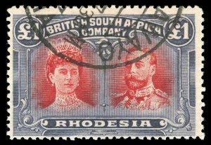 Rhodesia 1910 Double Heads £1 carmine-red & bluish black VFU. SG 165. Sc 118.