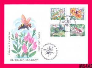 MOLDOVA 1997 Nature Fauna Rare Insects Ant Beetle Dragonfly Mantis Mi239-242 FDC