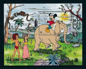 [23251] St. Vincent 1989 Disney Mickey and Jungle Book friends from India MNH