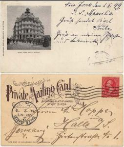 USA to Germany Post Card showing New York, P.O. -MSS on board SS Brasilia - Fine