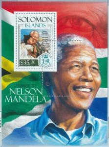 1379 - SOLOMON ISLANDS - ERROR, 2013 MISSPERF SHEET: Nelson Mandela South Africa
