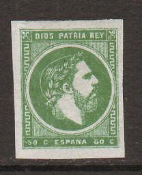 Spain Sc X6b MLH. 1875 50c King Carlos VII, VLH & XF