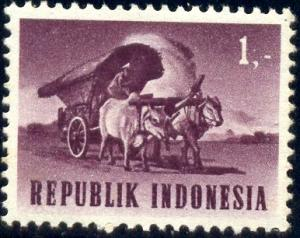 Ox Cart, Indonesia stamp SC#626 mint
