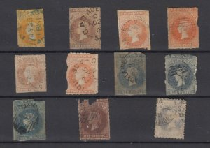 South Australia QV Early Collection of 11 Imperf/Roulettes Used JK6327