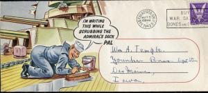 US WORLD WAR II PATRIOTIC SAN FRANCISCO, CA 5/5/43 TIES SC# 905 LEGAL SIZE ENV B