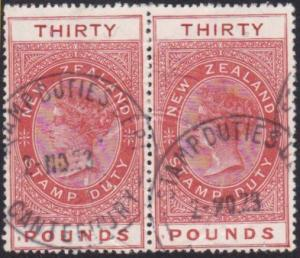 NEW ZEALAND 1880 Stamp Duty £30  fine used pair............................68007