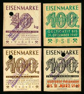 Germany Stamps VF 1948 + 1949 4x Various Dusseldorf Revenue Tickets