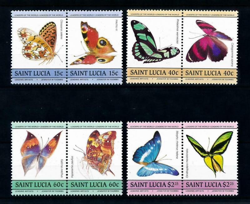 [98809] St. Lucia 1985 Insects Butterflies 4 Pairs MNH