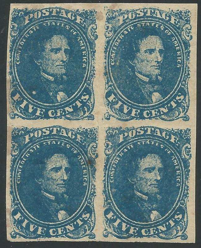CSA Scott #4 Stone 2 Pos 13-14. 23-24 Mint OG Block of 4 Confederate Stamps