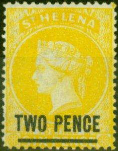 St Helena 1880 2d Yellow SG28 Very Fine & Fresh Mtd Mint