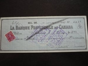 Canada - Revenue - KGV Pictorial Issue stamp on Cheque dated 1937