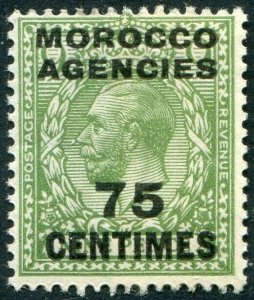 MOROCCO AGENCIES-1925-34 75c on 9d Green Sg 208 UNMOUNTED MINT V48972