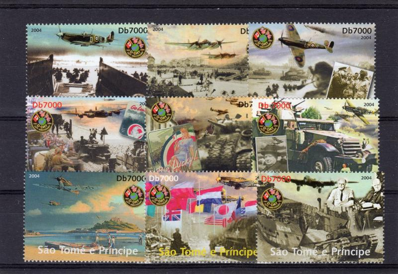 Sao Tome and Principe 2004 60th.WWII D day Churchill/IKE Set (9) Perforated MNH