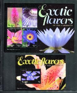 St Kitts 818, 820, MNH,  Flowers 2011. x27183