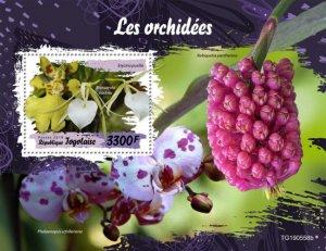 TOGO 05 11 2019 Code: TG190544a-TG190564b. Orchids. Blok.