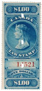 (I.B) Canada Revenue : Law Stamp $1 (1876)