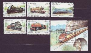 J23415 JLstamps 1991 laos set mhr/part hr #1038-43 w/s/s trains