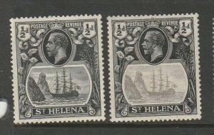St Helena 1922/37 1/2d Grey & Black, 1/2d Grey black & Black MM SG 97 & 97h