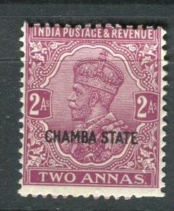 INDIA CHAMBA; 1927-37 early GV issue Mint hinged Shade of 2a. value