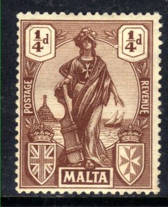 Malta 1922 - 26 KGV 1/4d Brown Emblematic Statue MM SG 123 ( B967 )