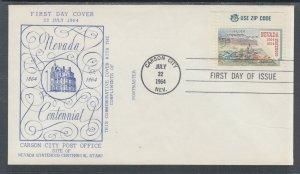 US Planty 1248-12 FDC. 1964 Nevada Statehood, Carson City P.O. Cachet