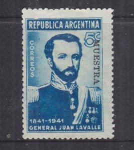 ARGENTINA, 1941 Gen. Lavalle, 5c., MUESTRA, lhm.