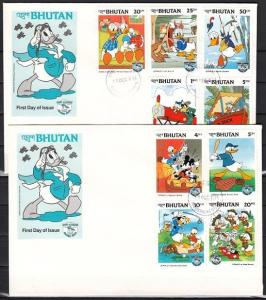 Bhutan, Scott cat. 460-468. Donald as Scout Master value on First day covers. *