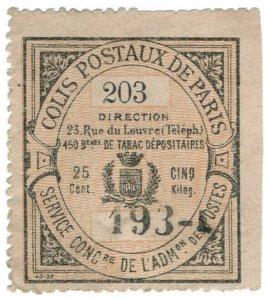 (I.B) France Local Post : Paris Parcel Delivery 25c (Colis Postaux)