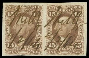momen: US Stamps #R40a Used Pair Revenue