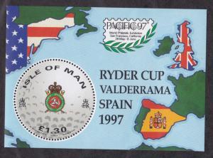 Isle of Man #756 MNH S/S CV$4.75 Golf Ryder Cup Valderrama Map Flags Pacific