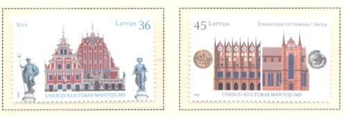 Latvia Sc 679-0 2007 UNESCO Heritage Sites stamp set mint NH